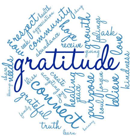 Dankbaarheid woord wolk op een witte achtergrond.