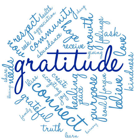 Gratitude word cloud on a white background. Imagens - 67929402
