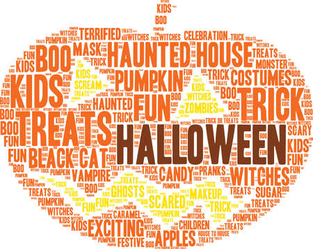pranks: Halloween word cloud on a white background. Illustration