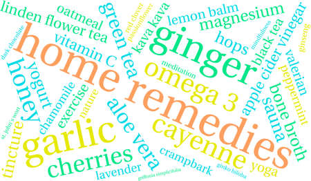 Home Remedies woord wolk op een witte achtergrond. Stock Illustratie