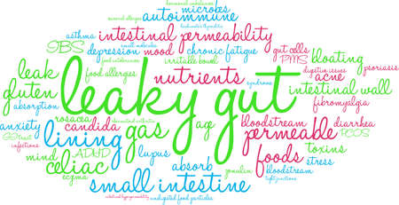 hypersensitivity: Leaky Gut word cloud on a white background.
