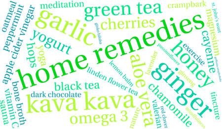 Home Remedies woordwolk op een witte achtergrond.