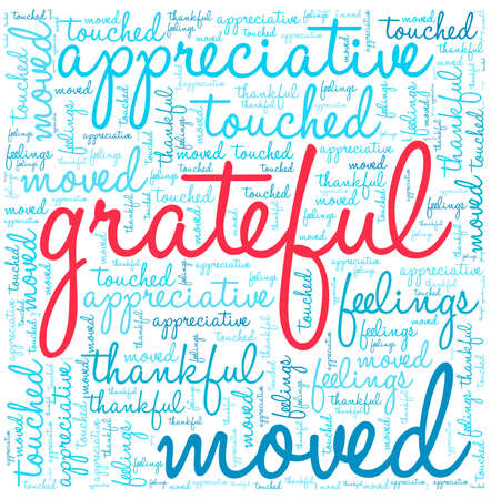 Grateful word cloud on a white background.