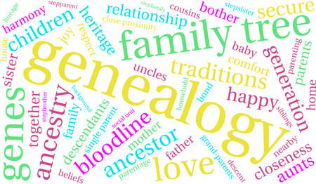 Genealogy word cloud on a white background. Stock Vector - 70321381