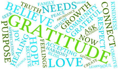 Gratitude word cloud on a white background. Reklamní fotografie - 70321390