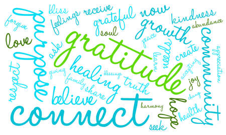 Gratitude word cloud on a white background.