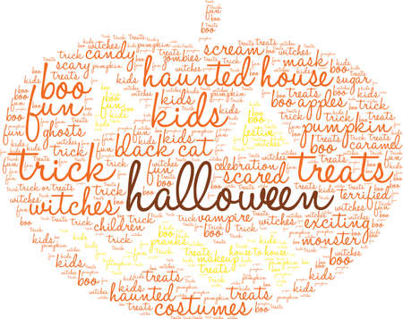 Halloween word cloud on a white background. Illustration