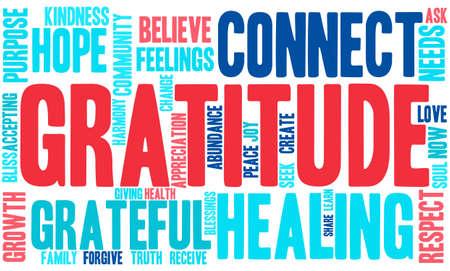 reiki: Gratitude word cloud on a white background.
