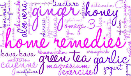 chamomile tea: Home Remedies word cloud on a white background. Illustration