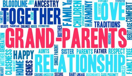 Los padres nube de palabras sobre un fondo blanco. Ilustración de vector