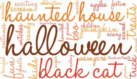 Halloween word cloud on a white background. Stock Illustratie