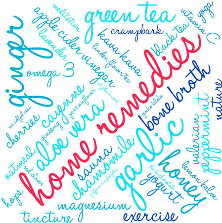 Home Remedies word cloud on a white background. Illusztráció