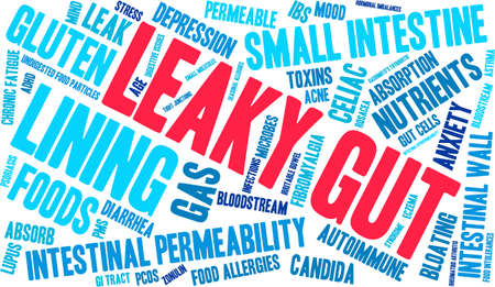 gut: Leaky Gut word cloud on a white background.