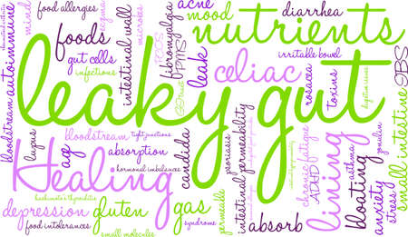 ibs: Leaky Gut word cloud on a white background.