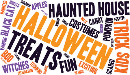 Halloween word cloud on a white background. Ilustração
