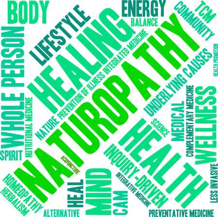 Naturopatía nube de palabras sobre un fondo blanco.