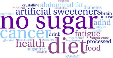 白地になしの砂糖の単語の雲。  イラスト・ベクター素材