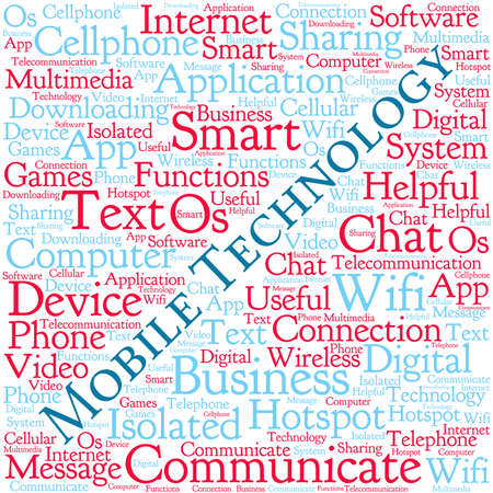 os: Mobile Technology word cloud on a white background.