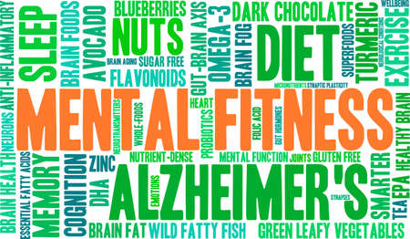 cognicion: Mental Fitness nube de palabras sobre un fondo blanco. Vectores
