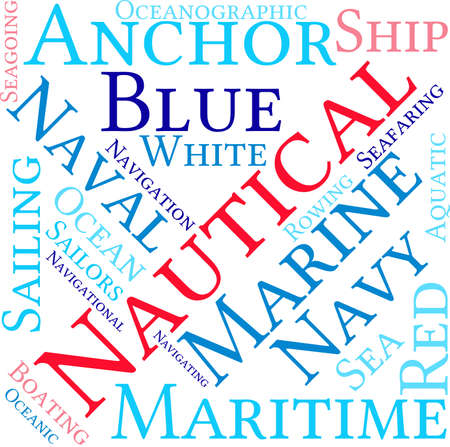 navigating: Nautical word cloud on a white background. Illustration
