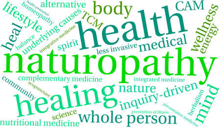 Naturopathy word cloud on a white background. Illustration