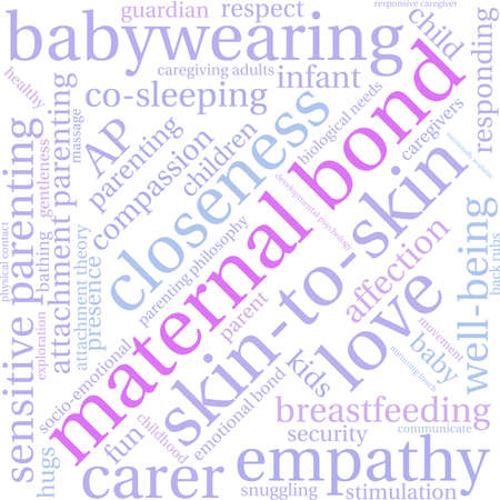 caregivers: Maternal Bond word cloud on a white background.