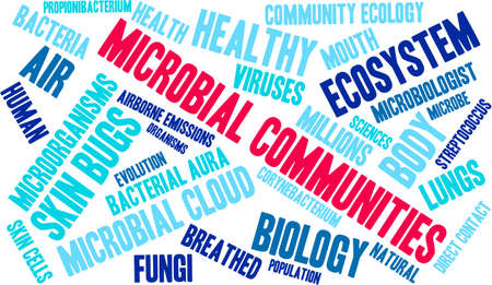 Microbial Communities word cloud on a white background. Stock Vector - 70322723