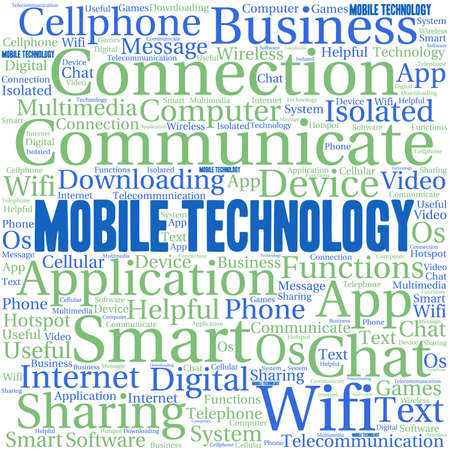wireless communication: Mobile Technology word cloud on a white background.