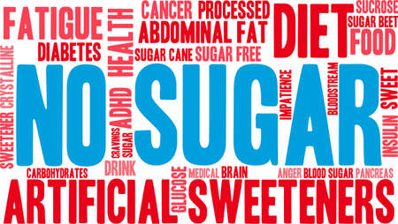 diabetes food: No sugar word cloud on a white background.