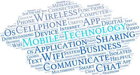 Mobile Technology word cloud on a white background.