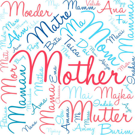 Mother international word cloud on a white background. Each word used in this word cloud is another languages version of the word mother.