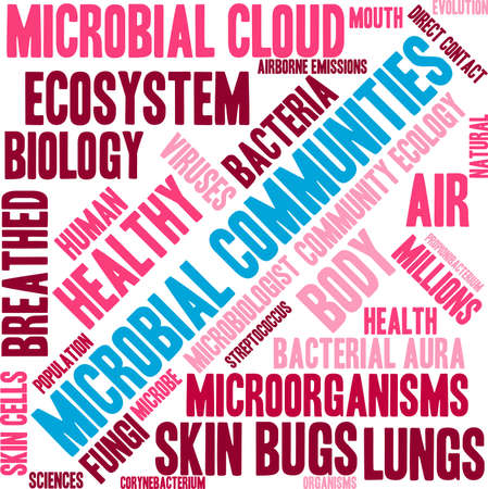Microbial Communities word cloud on a white background. Stock Vector - 70323028