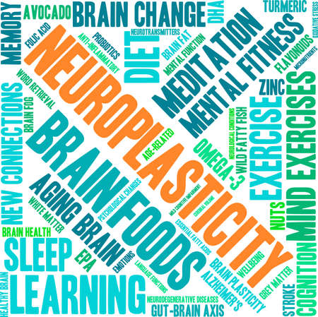 Neuroplasticity word cloud on a white background. Çizim