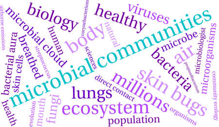Microbial Communities word cloud on a white background. Stock Vector - 70322948