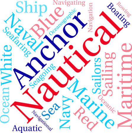Nautische woordwolk op een witte achtergrond. Stock Illustratie