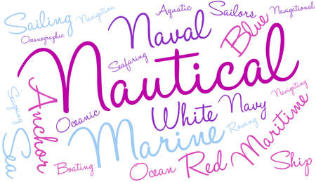 Nautical word cloud on a white background. Illustration