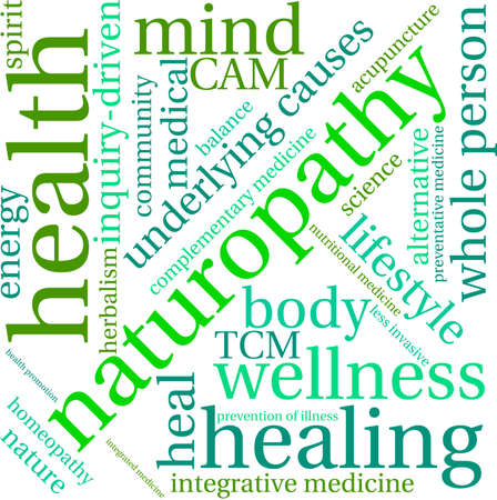 energy healing: Naturopathy word cloud on a white background. Illustration