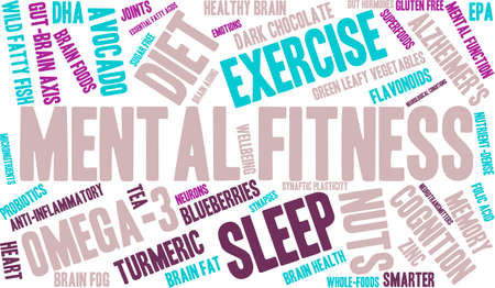 anti aging: Mental Fitness word cloud on a white background.