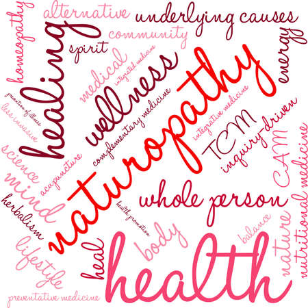 Naturopathy word cloud on a white background. 일러스트