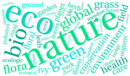 Nature word cloud on a white background. Illustration