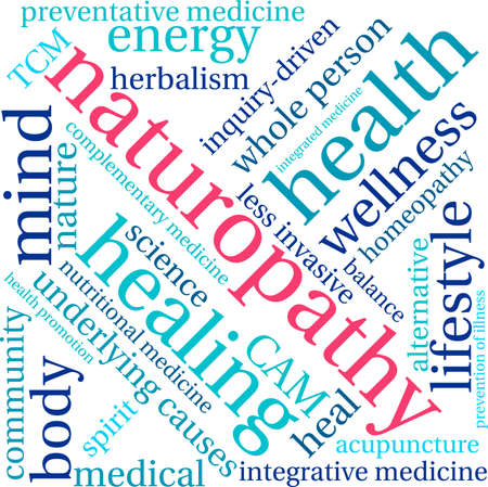 underlying: Naturopathy word cloud on a white background. Illustration