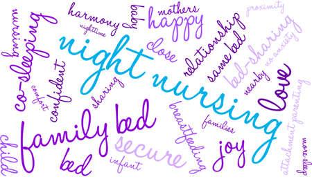 maternal: Night Nursing word cloud on a white background.