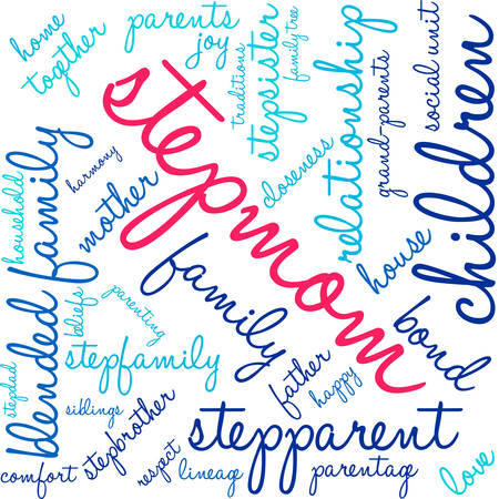 Stepmom word cloud on a white background.