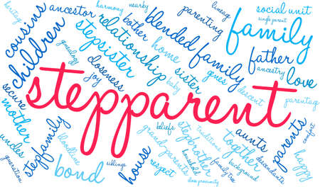 Stepparent word cloud on a white background.