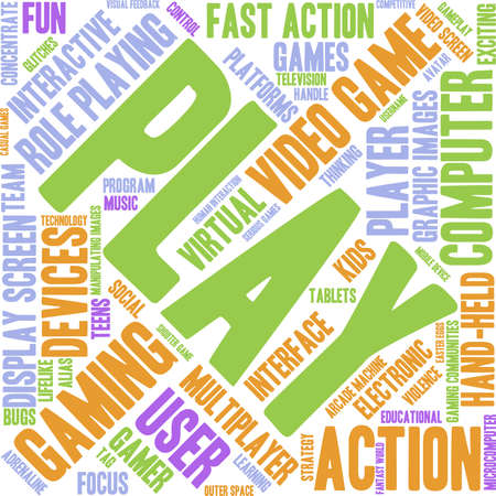 role play: Play word cloud on a white background.