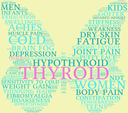 thyroid cancer: Thyroid word cloud on a pastel background. Illustration