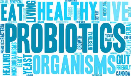 word cloud probiotici su uno sfondo bianco.