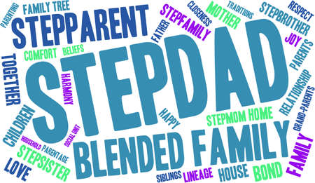 lineage: Stepdad word cloud on a white background.