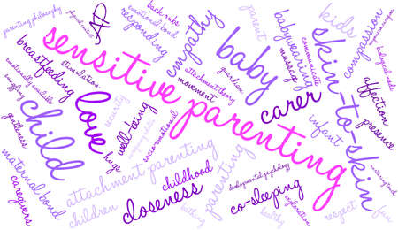 developmental: Sensitive Parenting word cloud on a white background.