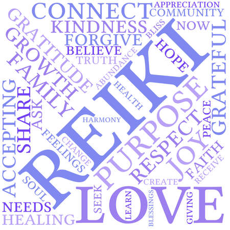 mind body soul: Reiki word cloud on a white background.